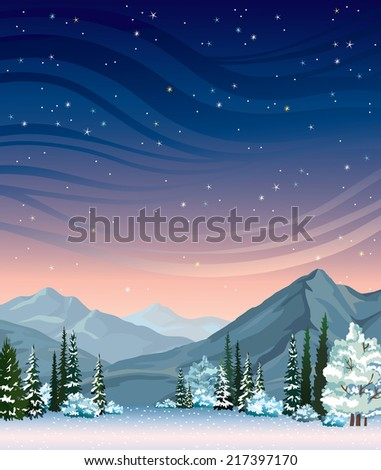 Night starry sky and frozen forest with mountains. Natural winter vector landscape. - stock vector
