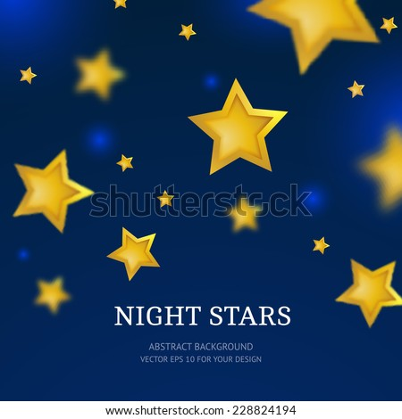 Night stars background. Abstract vector falling stars. - stock vector