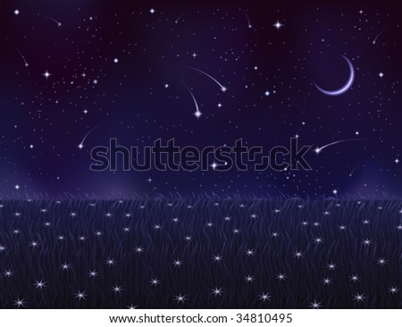 Night summer meadow covered with white star flowers (.JPG version id 44515198, other landscapes are in my gallery)