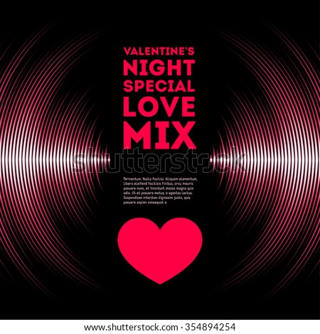 Night themed Valentine's Day card with pink vinyl tracks and red heart - stock vector