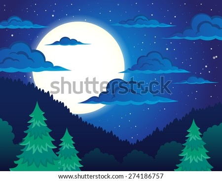 Night topic landscape 1 - eps10 vector illustration.