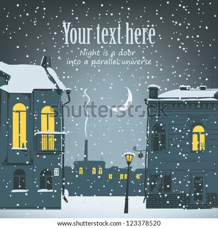 Night urban winter landscape with the moon and flashlight - stock vector