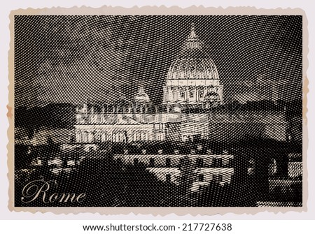 Night view at St. Peter's cathedral in Rome, Italy. Vintage travel postcard. - stock vector