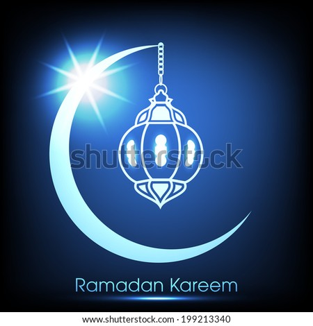 night view of a arabic lamp hanging through a illuminated blue moon for the celebration of ramadan kareem and eid mubarak and other muslim festivals. - stock vector