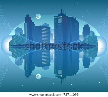 Night view of the city by the sea - stock vector