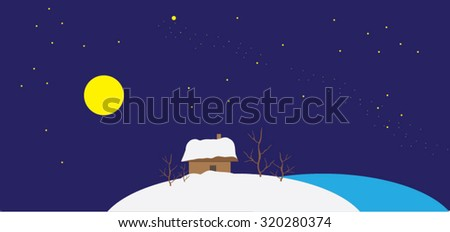 Night winter landscape stylized child painting - new year postcard vector pattern