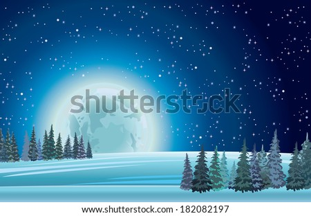 Night winter landscape with full moon on a starry sky.