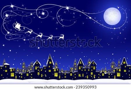 night winter town, moon and santa on his rein deers on blue dark sky, vector illustration