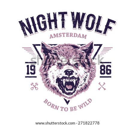 Night wolf grunge print. Vector art. - stock vector