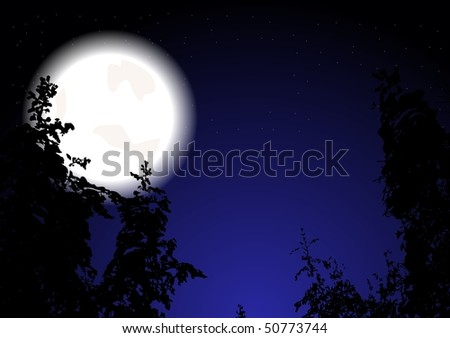 Night wood and full Moon (eps 10)