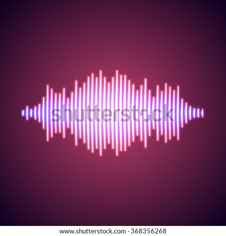 Nightlife styled glowing neon lights music wave - stock vector