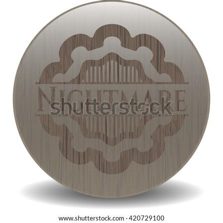 Nightmare retro style wooden emblem - stock vector