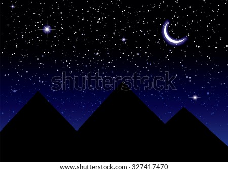 Nights sky over the pyramids in Egypt with a crescent moon - stock vector