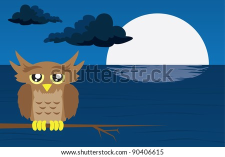 Nighttime scene with owl and moon reflected in the water - stock vector
