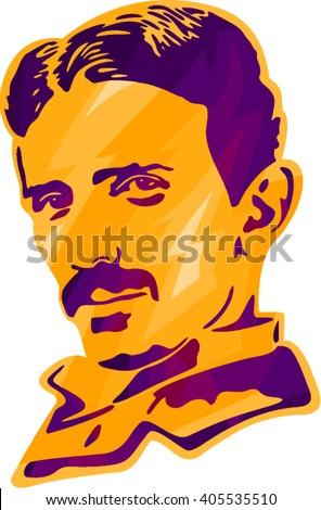 Nikola Tesla Tesla Print Tesla Portrait Stock Vector Royalty Free