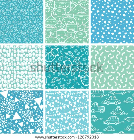 Nine baby boy blue seamless patterns backgrounds collection - stock vector