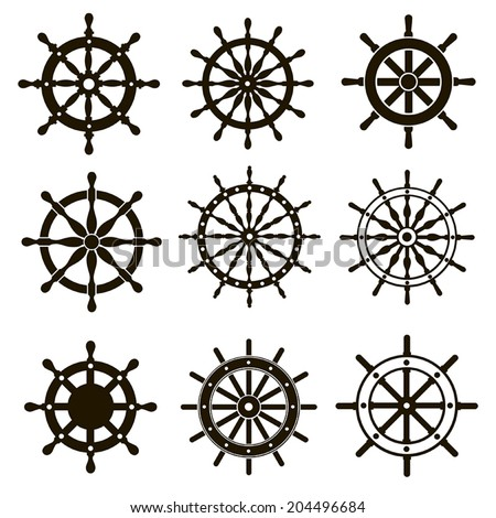 Nine black vector images marine helms on white background - stock vector