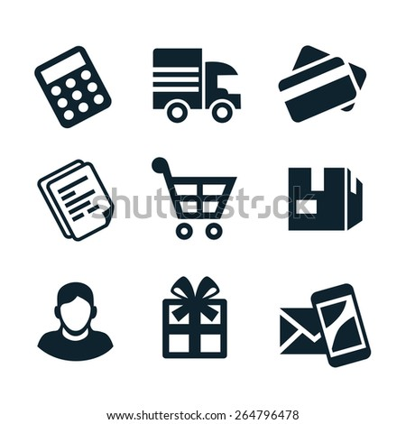 Nine blue icons on the theme of shop. - stock vector