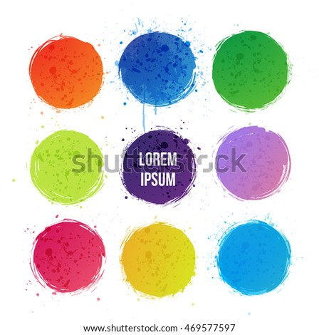 Nine bright grunge circles with splashes on white background. Place for your text. Vector illustration.