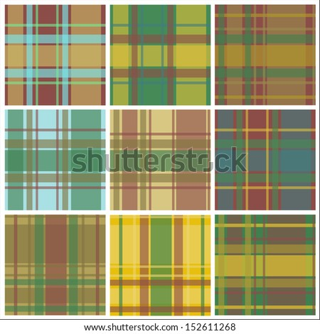 Nine checkered squares.Seamless patterns.Vector.EPS 10