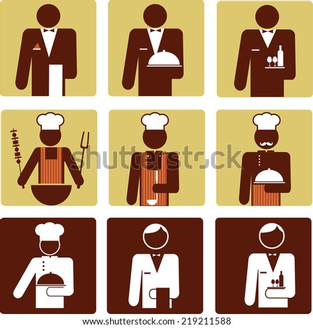 nine chef and waiter icons . vector illustration - stock vector