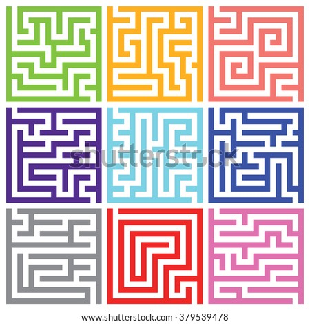 Nine colorful isolated maze vector pack
