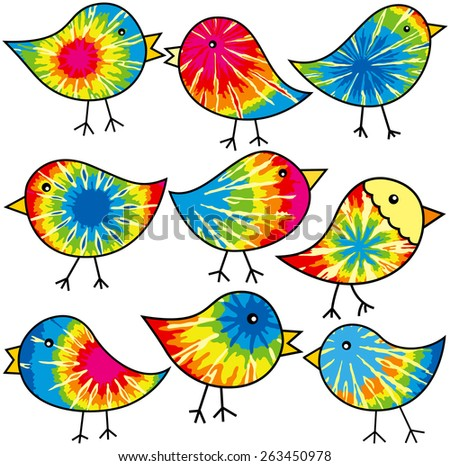 Nine colorful tie-dyed chicks for your designs - stock vector