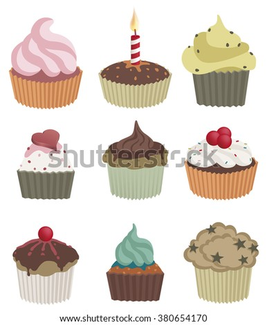 Nine cupcakes. Vector illustration of nine delicious cupcakes. EPS10 file. - stock vector