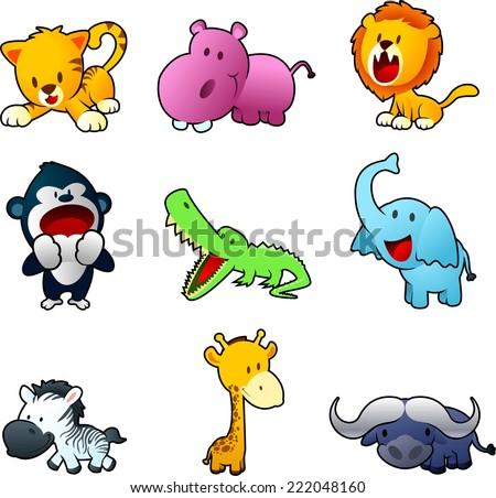 Nine cute safari animals, with tiger, hippo, lion, monkey, crocodile, elephant, zebra, giraffe and yak vector illustration. Nine different safari animals in different postures and posing.  - stock vector