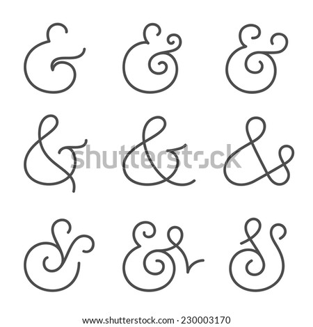 Nine different elegant and stylish custom ampersands for wedding invitation or business card. Vector illustration - stock vector