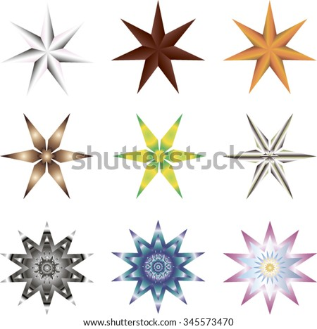 Nine different seven-pointed stars - stock vector