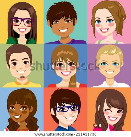 Nine diverse young people face portraits from different ethnicity - stock vector