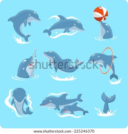 Nine Dolphin set collection, with dolphin playing with ball, with red ring, jumping, two dolphins, and swimming vector illustration. - stock vector