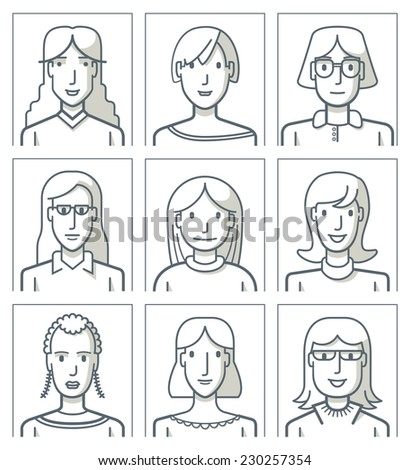 Nine female avatars. Simple line. Nine portraits of young women. The drawings are made with simple lines. EPS8 file.
