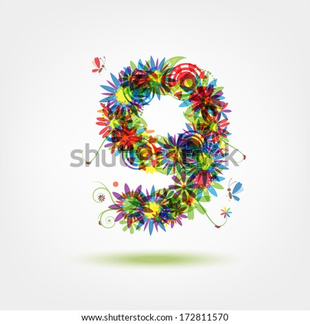 Nine, floral number for your design - stock vector