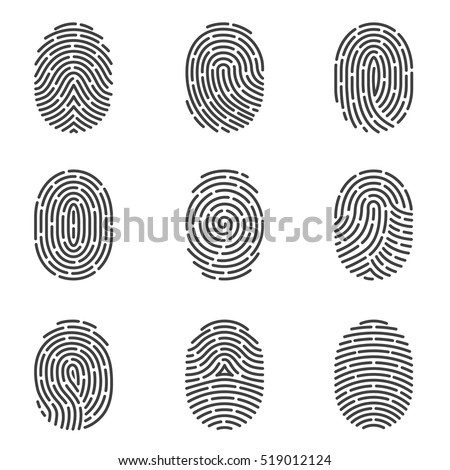 Nine grey fingerprint types detailed vector set