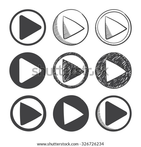 nine hand drawn and material design play icon set. sketch symbol on a white background - stock vector