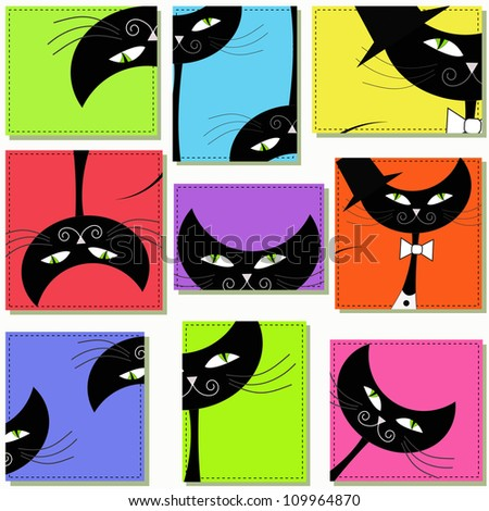 Nine icons with cats - stock vector