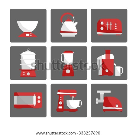 Nine kitchen appliances set. Simple flat design. White and red colors.  Vector illustration - stock vector