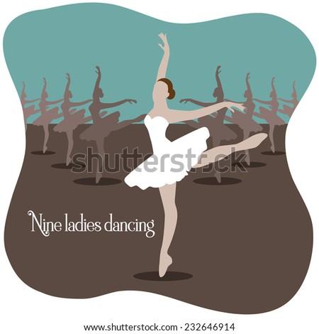 Nine ladies dancing  Twelve days of Christmas EPS 10 vector illustration - stock vector