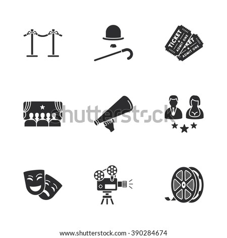 nine modern cinema icons - stock vector