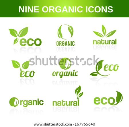 Nine organic icons for ecological topics. - stock vector