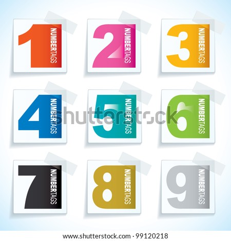 Nine paper tag with sticky tape and number elements - stock vector
