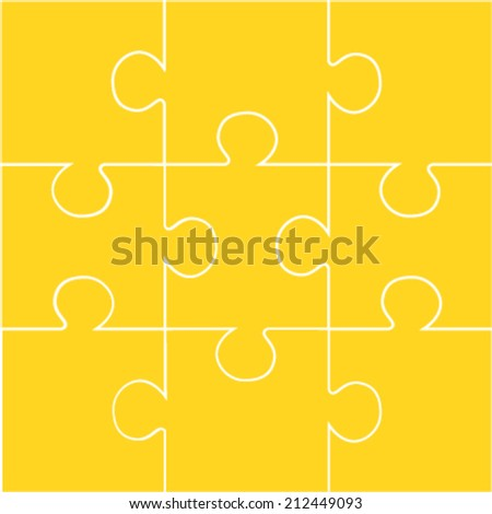 Nine pieces of orange jigsaw vector puzzle