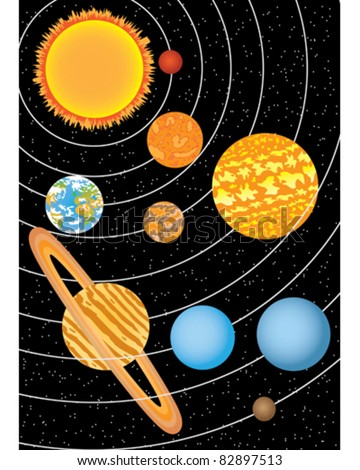 Nine planets moving around sun in space - stock vector