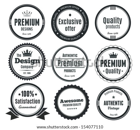Nine Scalable Vintage Badges - stock vector