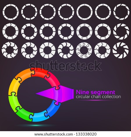 Nine segment graph circular charts clip art set, in seven template design variations and three variations of thickness - stock vector