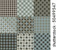 Nine swirly houndstooth patterns in blue and brown. Tiles are grouped on separate layers. - stock vector