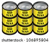 Nine tins of tuna - good survival rations! - stock vector