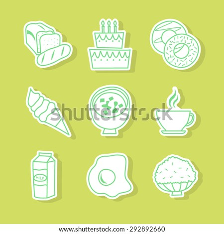 Nine vector line Icons, milk, egg, rice, bread, birthday cake, donuts, ice-cream, coffee, doenjang soup(bean paste soup) for food, vegetable symbol, icon, pattern, background.